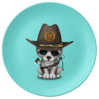 Cute Wolf Cub Zombie Hunter Plate