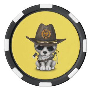 Cute Wolf Cub Zombie Hunter Poker Chips