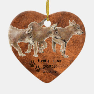 Cute Wolf pups - Family is our greatest Treasure Ceramic Ornament