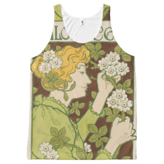 Cute woman with flowers All-Over print singlet