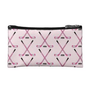 Cute Women's Girls Pink Hockey Sticks Makeup Bag