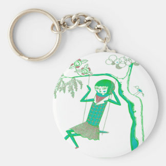 CUTE WOODEN DOLL ON SWING KEY CHAINS