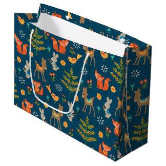Cute Woodland Animal Pattern Large Gift Bag