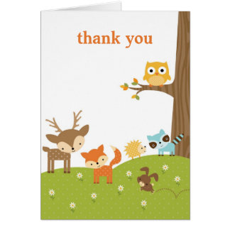 Cute Woodland Animal Thank You Cards