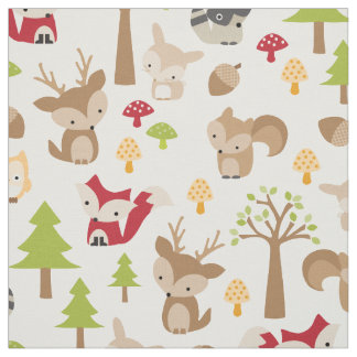 Cute Woodland Animals and Forest Pattern Fabric