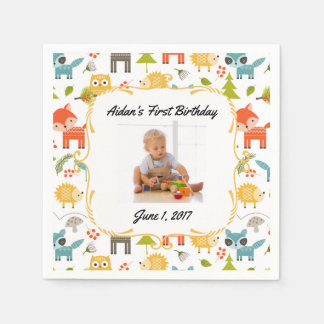 Cute Woodland Animals Custom Photo Party Napkins Disposable Serviettes