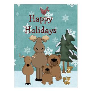 Cute Woodland Animals Happy Holidays Christmas Postcard
