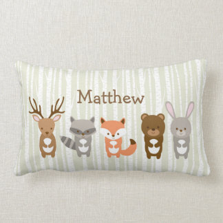 Cute Woodland Animals Personalised Pillow