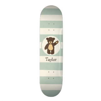 Cute Woodland Brown Bear; Sage Green Stripes Skate Decks