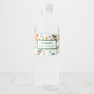 Cute Woodland Creatures Animal Pattern Baby Shower Water Bottle Label