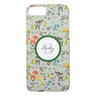 Cute Woodland Creatures Animal Pattern & Monogram iPhone 7 Case