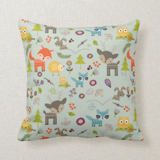 Cute Woodland Creatures Animal Pattern Throw Pillow
