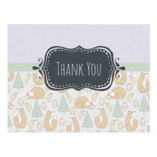 Cute Woodland Creatures Pattern Thank You Postcard
