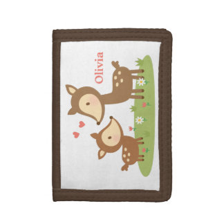 Cute Woodland Deer Mother and Child For Kids Tri-fold Wallets