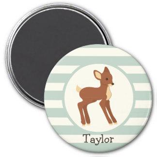 Cute Woodland Deer; Sage Green Stripes Fridge Magnet