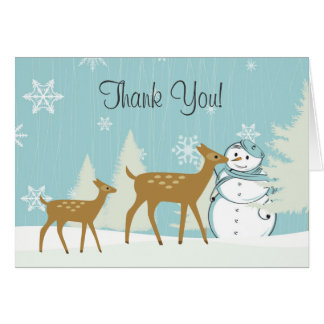 Cute Woodland Deer with Snowman Winter Thank You Card