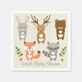 Cute Woodland Forest Animal Personalized Napkins Paper Napkin