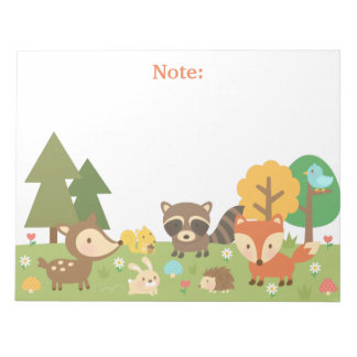 Cute Woodland Forest Animals and Creatures Notepad