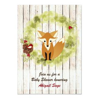Cute Woodland Fox and Winter Wreath Baby Shower Card