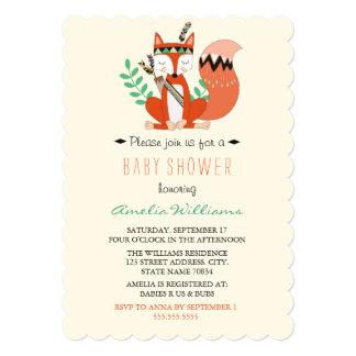 Cute Woodland Fox Baby Shower Invitation