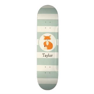 Cute Woodland Fox on Sage Green Stripes Custom Skateboard