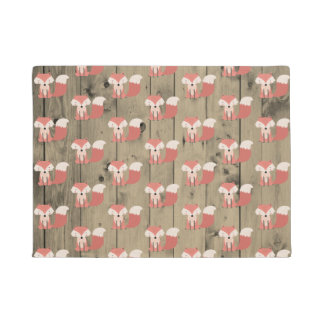 Cute Woodland Fox Pattern Rustic Wood Forest Doormat