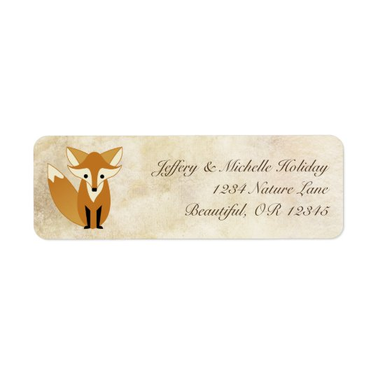 Cute Woodland Fox with Natural Grunge Background Return Address Label