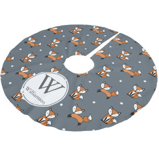 Cute Woodland Foxes & Polka Dots Personalized Brushed Polyester Tree Skirt