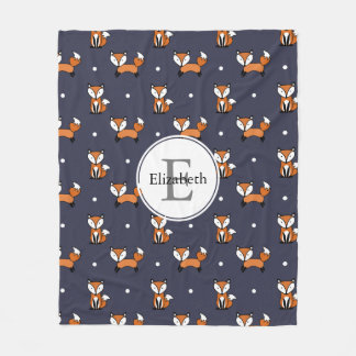 Cute Woodland Foxes Polka Dots Personalized Fleece Blanket