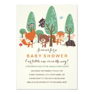 Cute Woodland Friends Baby Shower Invitation