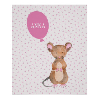 Cute Woodland Mouse Baby's / Kid's Room Poster