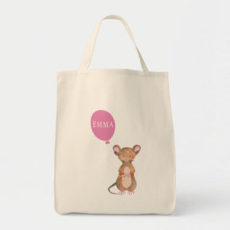 Cute Woodland Mouse Grocery Tote Bag