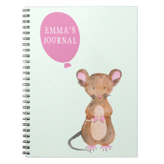 Cute Woodland Mouse Personalized Notebook