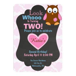 Cute Woodland Owl Birthday invitation