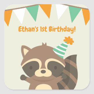 Cute Woodland Raccoon Birthday Party Stickers