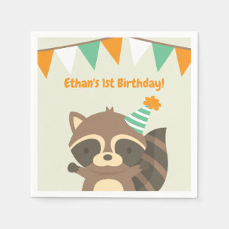 Cute Woodland Raccoon Birthday Party Supplies Disposable Napkin