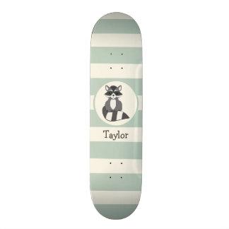 Cute Woodland Raccoon; Light Sage Green Skateboards