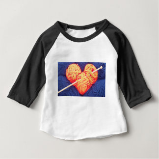 Cute wool heart with knitting needle photograph baby T-Shirt