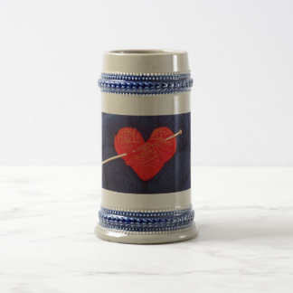 Cute wool heart with knitting needle photograph beer stein