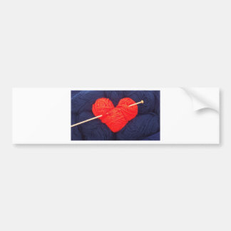 Cute wool heart with knitting needle photograph bumper sticker