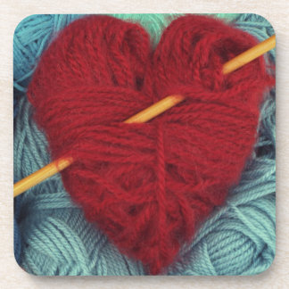 cute wool heart with knitting needle photograph coaster
