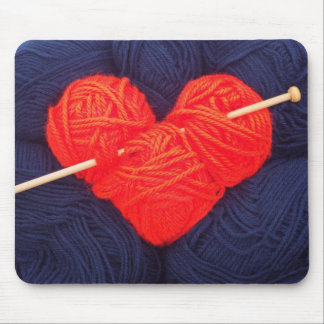 Cute wool heart with knitting needle photograph mouse pad