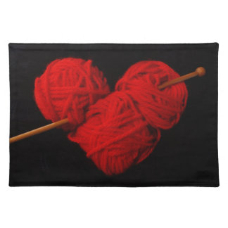 Cute wool heart with knitting needle photograph placemat