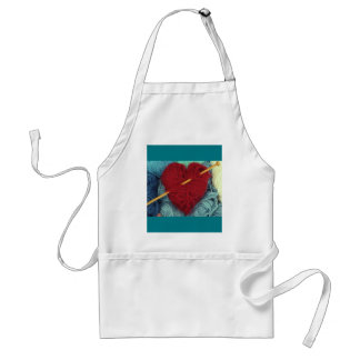 cute wool heart with knitting needle photograph standard apron
