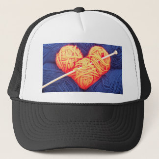 Cute wool heart with knitting needle photograph trucker hat