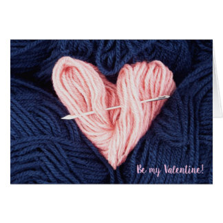 Cute wool heart with tapestry needle greeting card