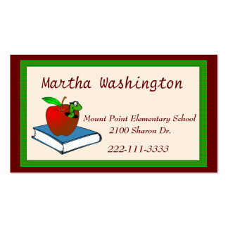 Cute Wormy Apple Teachers Business Card