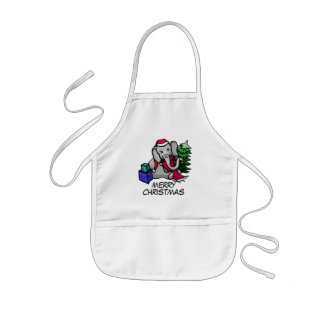 Cute Xmas Bell-Ringing Elephant with Santa Hat Kids Apron