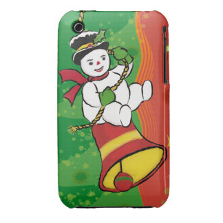 Cute Xmas Snowman on Christmas Bell Case-Mate iPhone 3 Cases