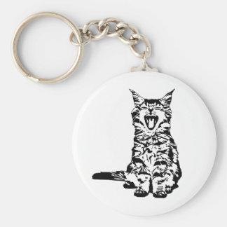 Cute yawing kitten key ring